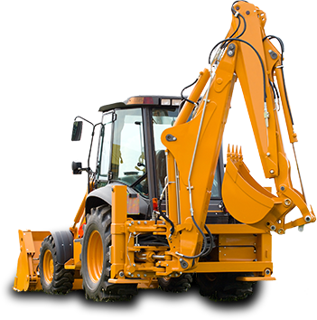 Backhoe with hydraulic cylinders