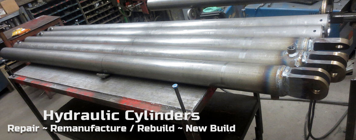 Row of repaired hydraulic cylinders